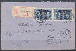FRANCE - 27.1.1950, Reco Cover From TOULON SUR MER (Var) To CAEN (Calvados) - 1921-1960: Modern Period
