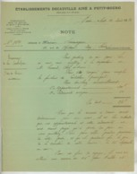 Ets Decauville Aîné à Petit-Bourg (Evry). Tramways De Luc-Ouistream . Ordre De Service à Contrôleur . 1891 . - Transports