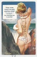 """Jeune Femme Topless à La Plage:"""" Nous Avons Trouvé Un Petit Coin Bien Caché"""". Signée Taylor - Taylor"""