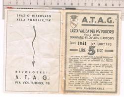 Tessera Trasporto Urbano ATAG Roma  Valida Per Più Percorsi Linee Tramviarie Filoviarie E Bus 1943 - Abonnements Hebdomadaires & Mensuels
