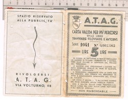 Tessera Trasporto Urbano ATAG Roma  Valida Per Più Percorsi Linee Tramviarie Filoviarie E Bus 1943 - Week-en Maandabonnementen