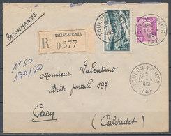 FRANCE - 17.4.1951, Reco Cover From TOULON SUR MER (Var) To CAEN (Calvados) - 1921-1960: Modern Period