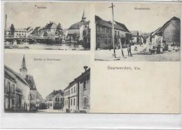 67 SAARWERDEN . Pont , Rue Principale , église , école , Très Animé , édit : C Kraemer Saarunion, écrite , état Extra - France