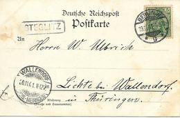 "Berlin Vers Wallendorf, Carte Postal 1901, Marque "" Steglitz "". Voir 2 Scan - Covers & Documents"