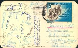 1971, Länderspiel MEXICO - DDR 0:1 - Postkarte Mit Den Unterschriften Der (kompletten?) Mannschaft Der DDR - Football