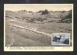VALLÉES D'ANDORRE - VALLS D'ANDORRA  - Carte MAXIMUM 1954 - Soldeu, Route Qui Monte Au Col D'Envalira - RARE - Cartoline Maximum