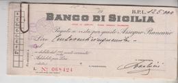 ASSEGNO BANCARIO BANCO DI SICILIA  SEDE DI GENOVA - Cheques & Traverler's Cheques