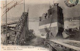 83 LA SEYNE CHANTIERS ET FORGES LANCEMENT L' AMIRAL MAKAROFF CROISEUR CUIRASSE RUSSE LE 28/05/1906 CLICHE UNIQUE - La Seyne-sur-Mer