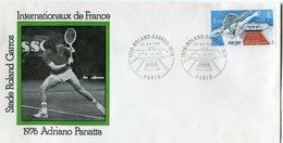 FRANCE ENVELOPPE INTERNATIONAUX DE FRANCE STADE ROLAND GARROS AVEC ILLUSTRATION 1976 ADRIANO PANATTA - Tennis