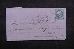 FRANCE - Lettre De Beauvron En Auge Pour Caen En 1869, Affranchissement Napoléon GC 469 - L 37065 - Storia Postale