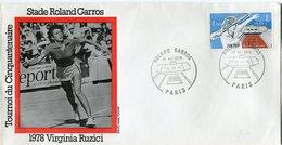 FRANCE ENVELOPPE INTERNATIONAUX DE FRANCE STADE ROLAND GARROS AVEC ILLUSTRATION 1978 VIRGINIA RUZICI - Tennis