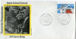 FRANCE ENVELOPPE INTERNATIONAUX DE FRANCE STADE ROLAND GARROS AVEC ILLUSTRATION 1978 VIRGINIA BJORN BORG - Tennis