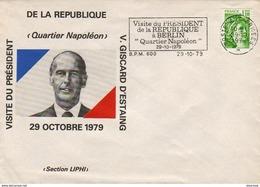 Poste Aux Armées Visite De Valery Giscard D'Estaing Au Quartier Napoleon De Berlin BPM 600 29/10/1979 - Military Postmarks From 1900 (out Of Wars Periods)