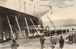 83 LA SEYNE CHANTIERS ET FORGES  CEREMONIE DE BAPTEME DU PAQUEBOT FRANCAIS SANTA ANNA 1910 CLICHE UNIQUE - La Seyne-sur-Mer