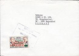 Peru 1981 Cover Brief BAGSVAERD Denmark Mi. 1198 Internationale Pazifikmesse Aufdruck Overprint (single Franking) - Peru