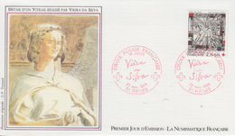 Enveloppe  FDC  1er  Jour   FRANCE   CROIX  ROUGE   Oeuvre  De  VIEIRA DA SILVA    REIMS  1986 - FDC
