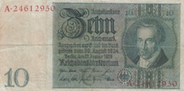 Germany #180a 10 Marks 1924 Banknote - [ 3] 1918-1933 : Weimar Republic