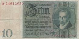 Germany #180a 10 Marks 1924 Banknote - [ 3] 1918-1933: Weimarrepubliek