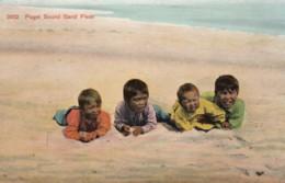 'Puget Sound Sand Fleas', Native American Indian Children At Beach, Racist Caption, C1900s Vintage Postcard - Indiaans (Noord-Amerikaans)