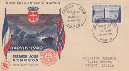 Enveloppe  FDC  1er  Jour    FRANCE   Bataille  De   NARVIK   1952 - FDC