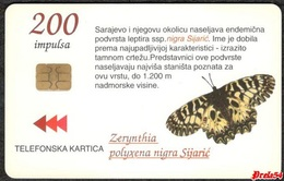 Bosnia Sarajevo -  PAPILLON ZERYNTHIA POLYXENA NIGRA SIJARIC, Used Chip Card - Bosnië