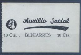 BENIARRES (ALICANTE) AUXILIO SOCIAL 10 CTS. - NO CATALOGADO - MUY ESCASO. VIÑETAS GUERRA CIVIL - Vignetten Van De Burgeroorlog