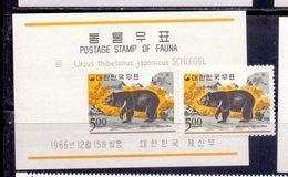 SUD  KOREA - Collar Bear (Selenarctos Tibetanus)  - **MNH - 1966 - Ours