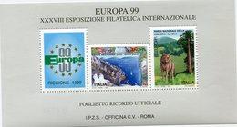 """ITALIE """" EUROPA 99 """" BLOC-FEUILLET DE LA XXXVIII EXPOSITION PHILATELIQUE INTERNATIONALE - Autres"""