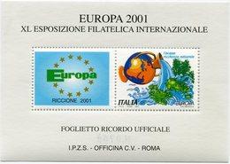 """ITALIE """" EUROPA 2001 """" BLOC-FEUILLET DE LA XL EXPOSITION PHILATELIQUE INTERNATIONALE - Autres"""