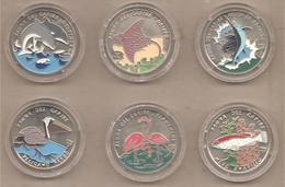 """Cuba - Serie Completa Di 6 Monete Non Circolate FDC Da 1 Peso """"Fauna Dei Caraibi"""" - 1994 - Cuba"""