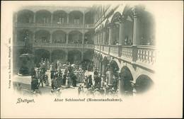 Ansichtskarte Stuttgart Schloß - Hof - Belebt 1900 - Stuttgart