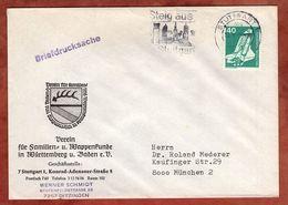 Briefdrucksache, Verein Fuer Wappenkunde, Weltraumlabor, MS Steig Aus In Stuttgart, Nach Muenchen 1976 (77214) - BRD