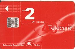 MALTA - Maltacom Telecard Lm 2/40 Units, CN : C6C173012, 09/96, Used - Malte