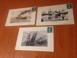 3 Cartes BATEAUX -héliographie  (port à Ma Charge ) - Barcos