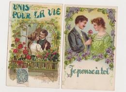 2 Cartes Fantaisie Gaufrées / Couples , Fleurs : Je Pense à Toi ; Unis Pour La Vie - Paare