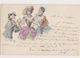 3  Cartes Fantaisie Dessinées (même Visuel) / Jeunes Femmes , Petit Chien , - Fantaisies