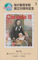 Télécarte JAPON / 110-011 - Religion - SAINTE MARGUERITE BOURGEOYS Sur TIMBRE Canada - STAMP VIP JAPAN Phonecard - 121 - Postzegels & Munten