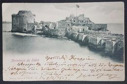 CM2 - Lebanon Beautiful Postcard Fortresse De Sidon, Tarazi, Saida, Turkish Flag, Sent German Levant Office BEIRUT 1903 - Lebanon