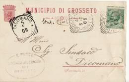 3718 GROSSETO MUNICIPIO 1908 X DICOMANO FIRENZE - 1900-44 Vittorio Emanuele III