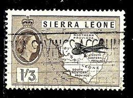SIERRA LEONE 189° 1/3p Gris-brun Elisabeth II Avion Survolant Ia Carte  De La Colonie (10% De La Cote + 0,15) - Sierra Leone (...-1960)