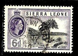 SIERRA LEONE 187° 6p Violet-b Elisabeth II Baie De La Baleine à York Village (10% De La Cote + 0,15) - Sierra Leone (...-1960)
