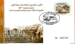"""Maroc;FDC 2010;TP N° 1544 """" 50ème Anniversaire De La Reconstruction D'Agadir """"Morocco,Marruecos - Maroc (1956-...)"""