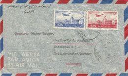 E112 - Lebanon 1952 Very Beutiful PAR AVION Cover From DJOUBAIL Sent To Germany Via Beyrouth - Lebanon