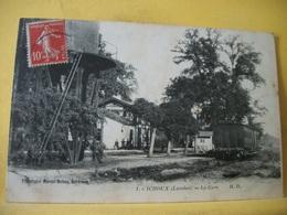 4J 3686. TRES RARE CLICHE CPA 1914 - 40 YCHOUX LA GARE ANIMATION. TRAIN. ERREUR LEGENDE. - Autres Communes