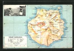 Postal Las Palmas, Gran Canaria, Trägerinnen, Landkarte - Gran Canaria
