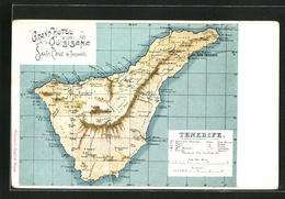 Lithographie Santa Cruz De Tenerife, Grand Hotel Quisisana, Landkarte Mit Pinar, Victoria U. Tufa - Tenerife