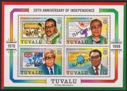 Tuvalu 1998 Independence 20th Anniversary SPECIMEN Minisheet MNH - Tuvalu
