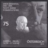 Black Print, Austria Sc2264 Simon Wiesenthal (1908-2005). Hunter Of Nazi War Criminals - History