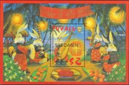 Tuvalu 1999 Year Of The Rabbit SPECIMEN Minisheet MNH - Tuvalu