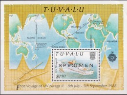 Tuvalu 1989 Maiden Voyage Of MV Nivaga II SPECIMEN Minisheet MNH - See Notes - Tuvalu